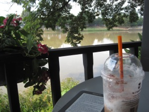 Yet another iced coffee, by the river