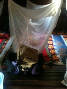 Homestay sleeping area - my mat (and my neighbours either side)