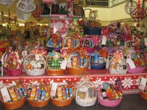 Alms baskets at the supermarket