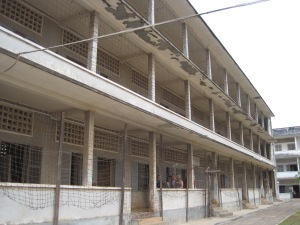 S-21 - the barbed wire was to prevent prisoners committing suicide