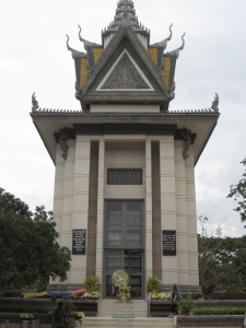 The Buddhist memorial at the Killing Fields - each level contains bones or skulls of those discovered there