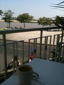 Breakfast on the Blue Pumpkin balcony in Phnom Penh on my last day
