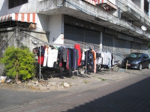 Drying clothes in the street