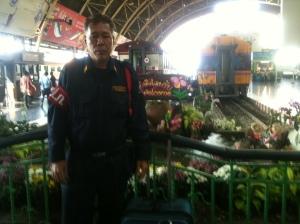 My security guard friend at Bangkok train station
