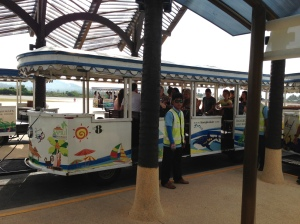 It's so cute at Samui airport, they have a little train to take you to your plane