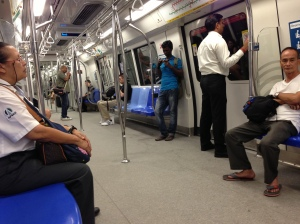 The Singapore MRT system - this is definitely not rush hour, when you have to throw yourself on!