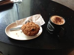 Honey Oatbran Muffin, Cappuccino