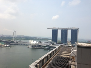 The view from my client's roof - the famous Marina Bay Sands, a beach and infinity pool stretched across three skyscrapers