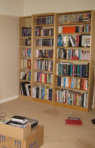 Books being unpacked at my place in the UK.  I miss my books...thank goodness for the kindle!