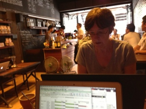 I'm a slave driver - Mum at work in a trendy Thai coffee shop in Chiang Mai