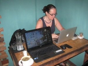 Me working in Akha Ama coffee cafe