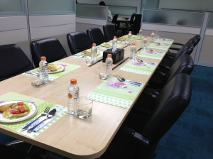 Three course sit down meal in the middle of the office