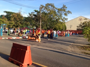 Municipal Stadium at 7am - preparing for some kind of parade!