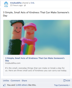 Acts of Kindness on Tiny Buddha Facebook