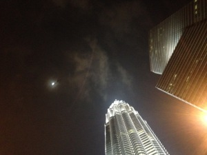 Awesome view of the moon and the towers at night